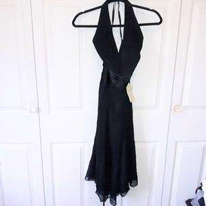 Anne Klein Halter Dress 100% Silk Size 4 Black